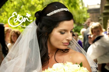 Close up of brides face looking downwards