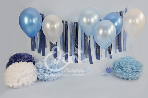 Blue balloons and tassels birthday backdrop