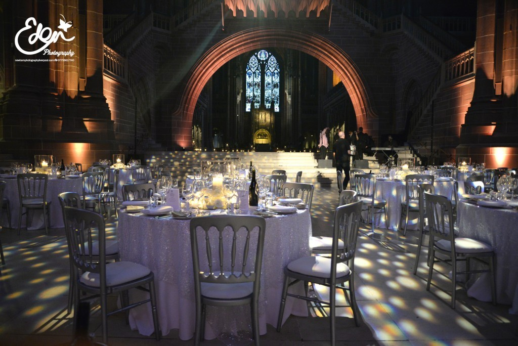 Reception tables in Liverpool Anglican Cathedral