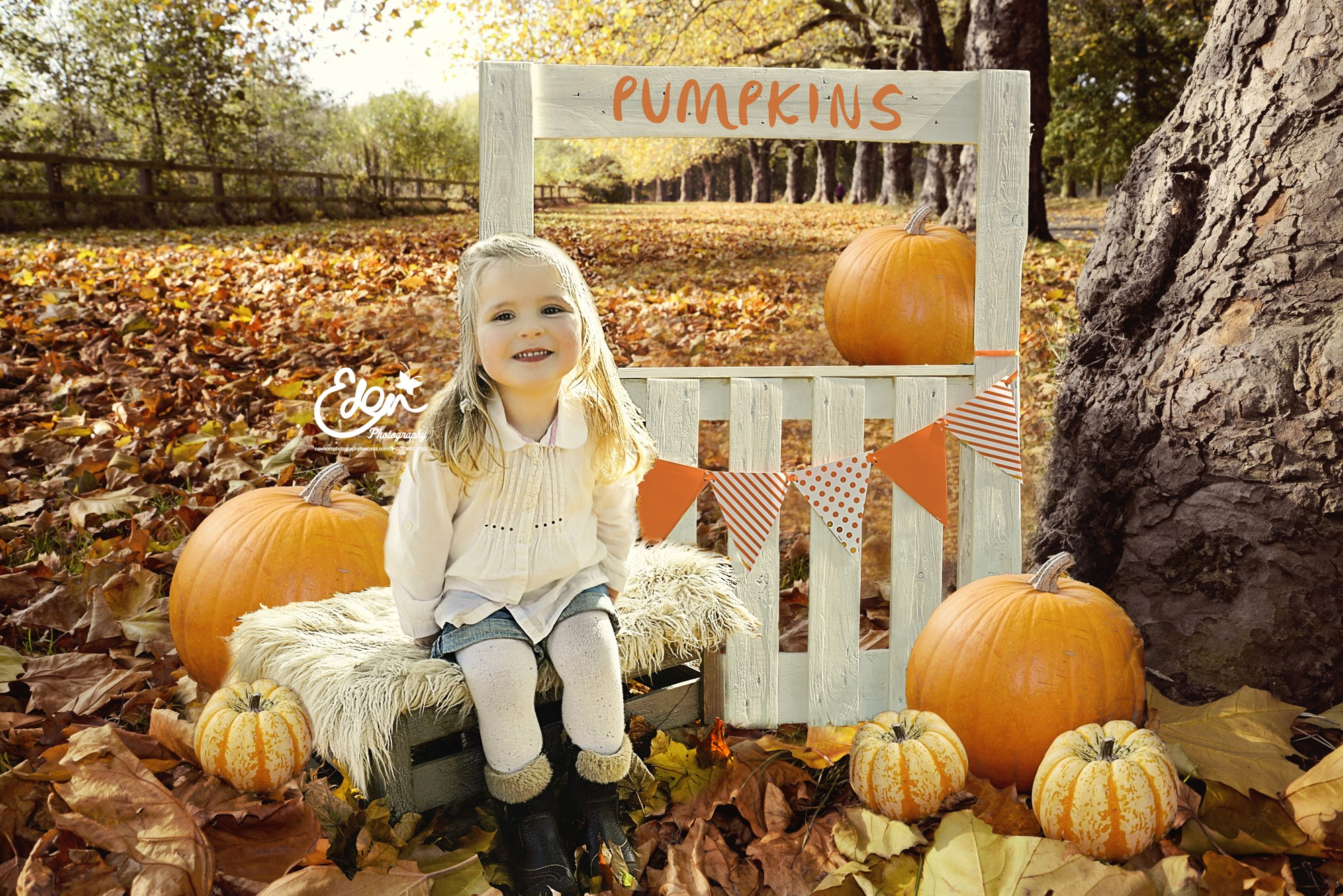 Autumn Photography Liverpool - Girl sitting in front of pumpkin stand with pumkins